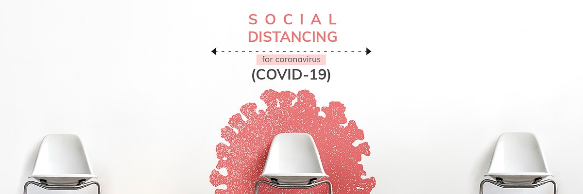Social distancing during coronavirus pandemic social template mockup