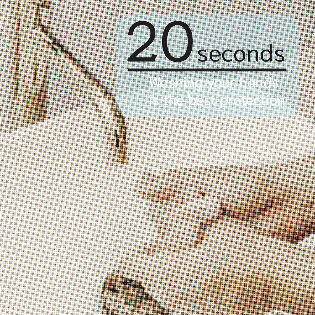 20 seconds washing your hands is the best protection social template mockup