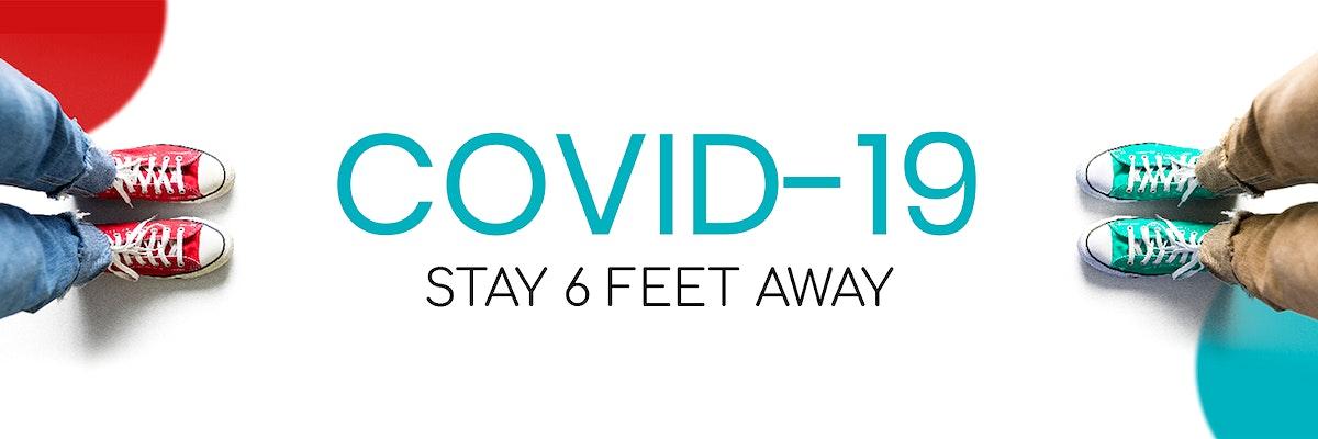 Stay 6 feet away during coronavirus pandemic social template mockup