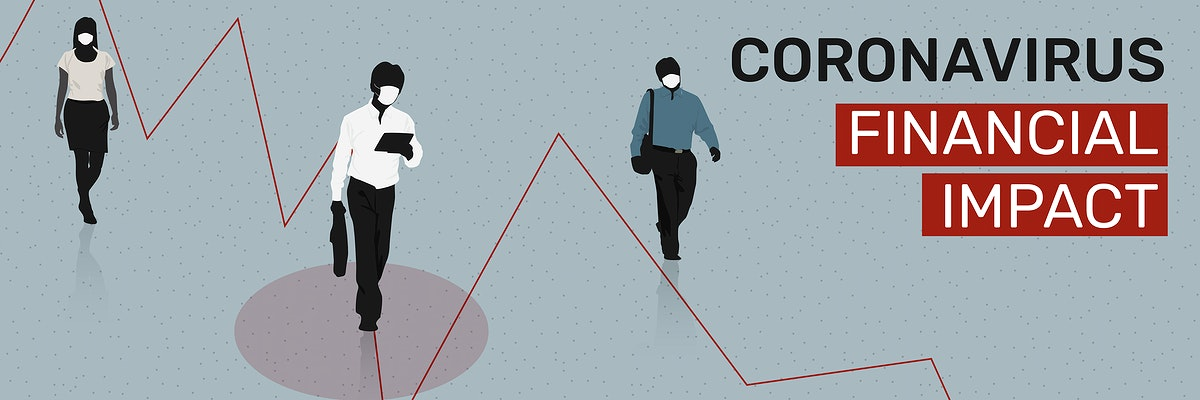 Coronavirus financial impact social banner template vector