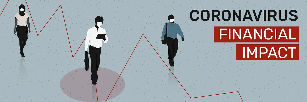 Coronavirus financial impact social banner template mockup