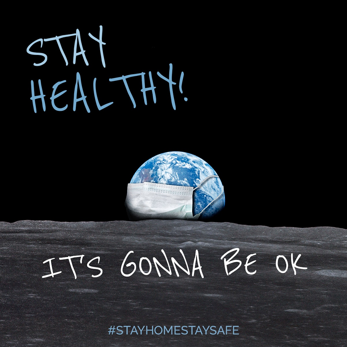 Stay healthy, it's gonna be ok during coronavirus pandemic social template mockup