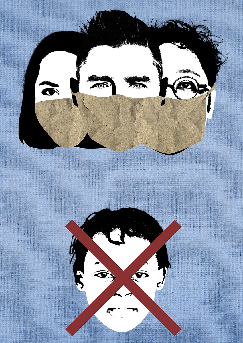 Wear a face mask in public during coronavirus pandemic background illustration