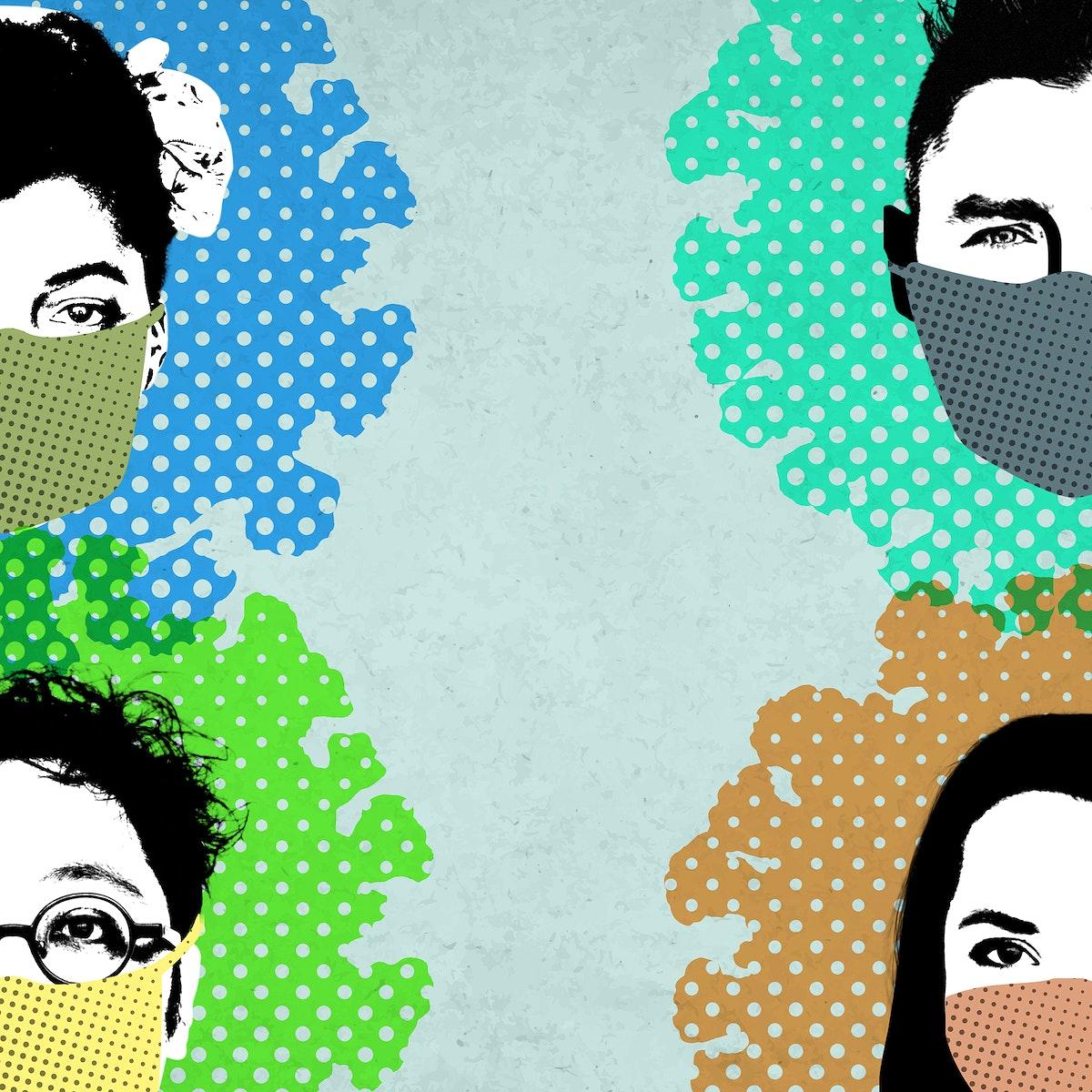 People wearing face masks in public during coronavirus pandemic background
