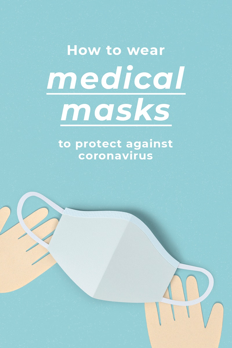 How to wear medical masks to protect against coronavirus social banner template mockup