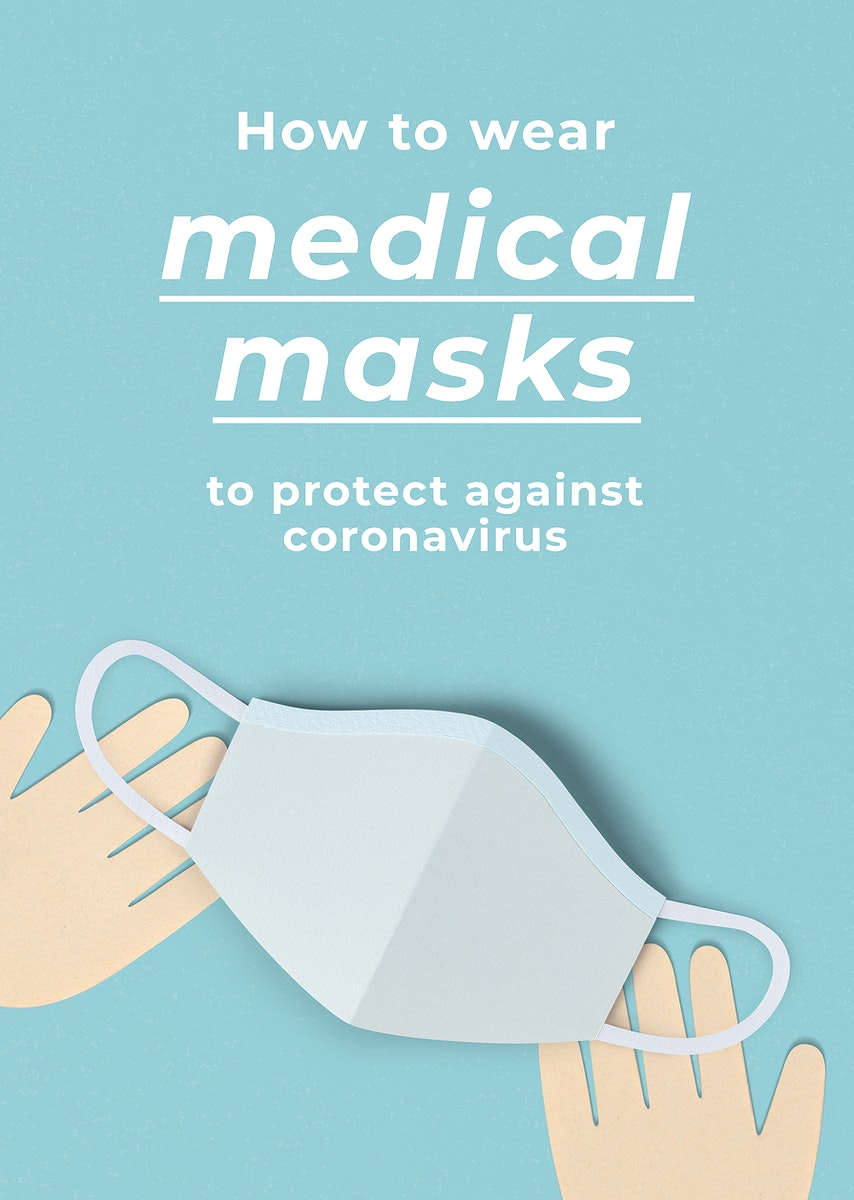 How to wear medical masks to prevent against coronavirus poster template mockup