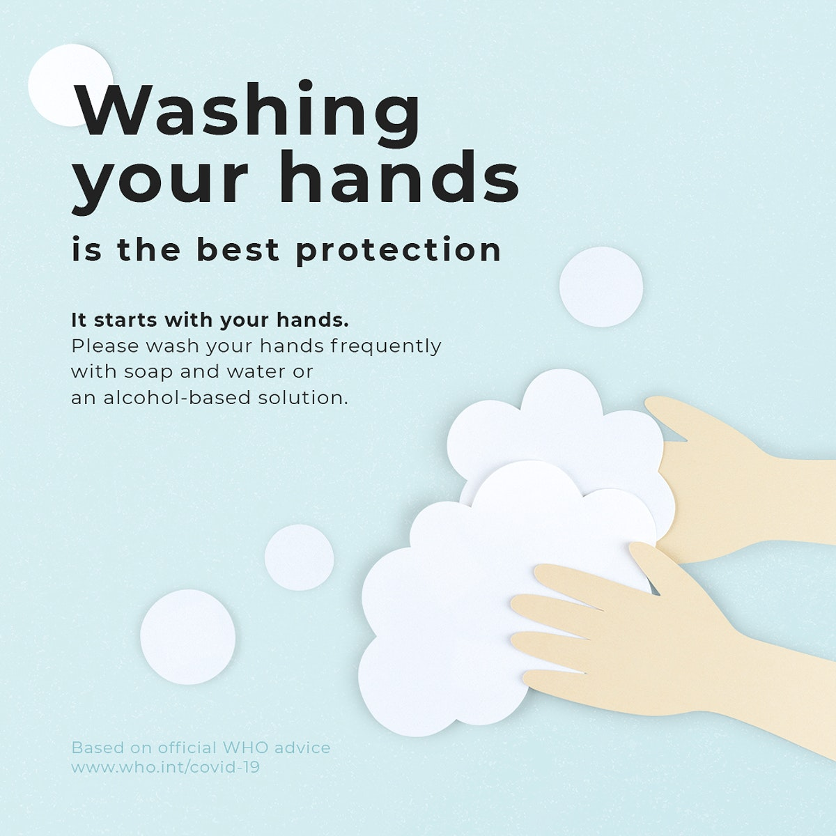Washing your hands is the best protection social banner template mockup