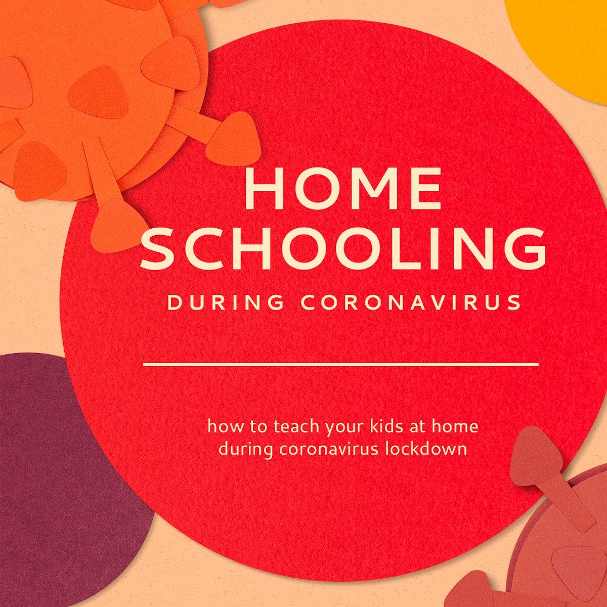 Homeschooling during coronavirus pandemic social banner template mockup