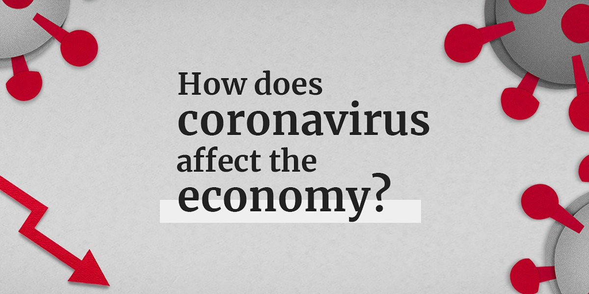 How does coronavirus affect the economy? social banner template mockup