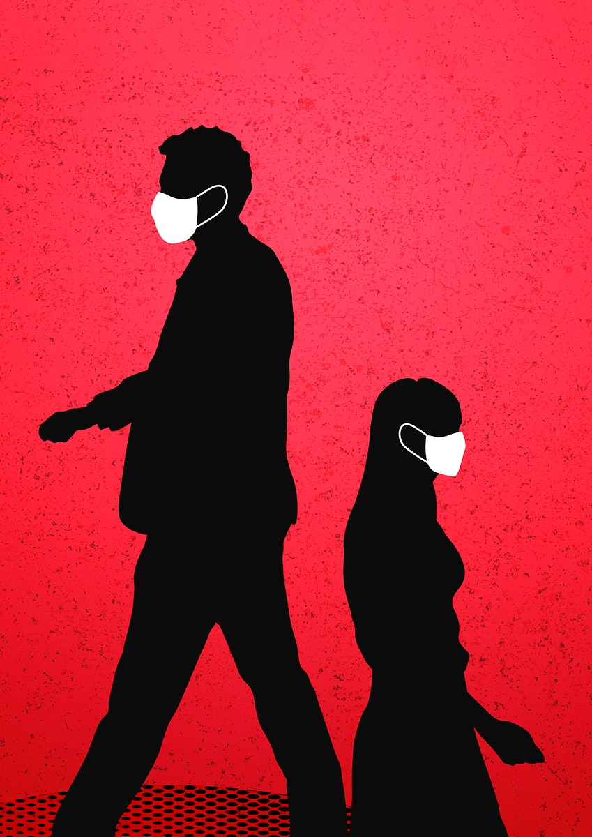 People wearing a face mask in public during coronavirus pandemic  background