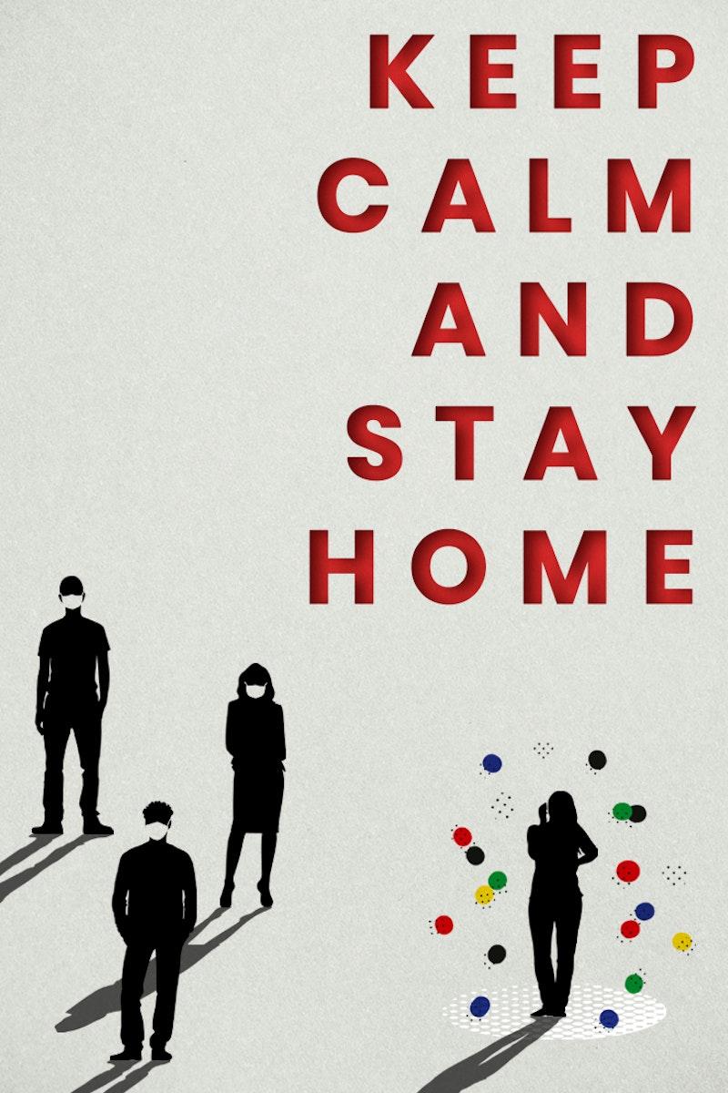 Keep calm and stay home during coronavirus pandemic social template mockup