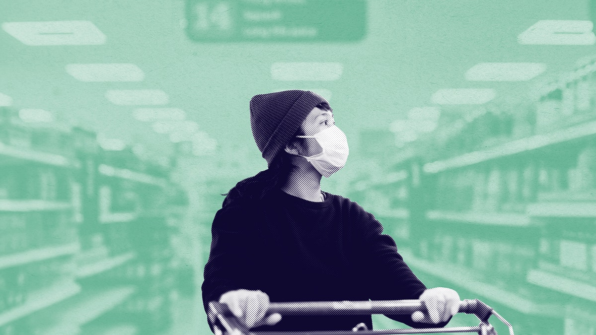 Woman with a face mask  buying food in a supermarket during coronavirus pandemic social template
