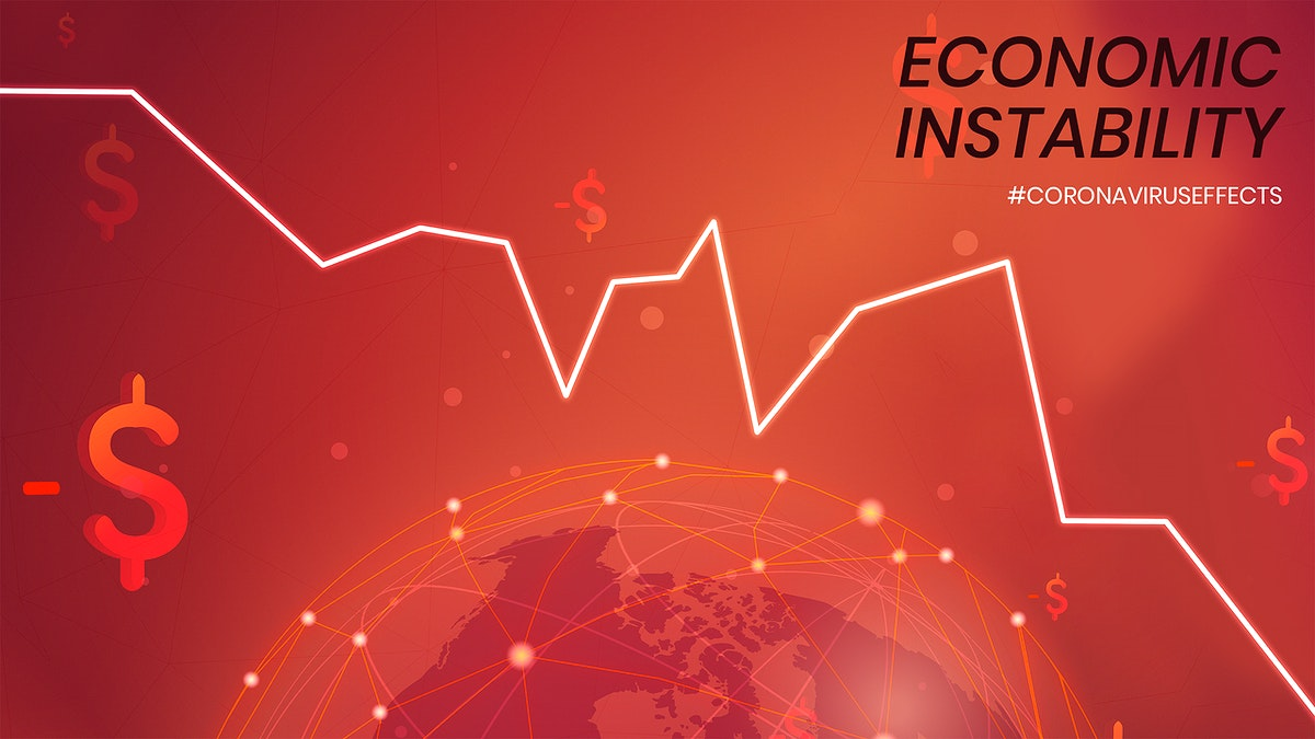 Economic instability due to COVID-19 social template mockup