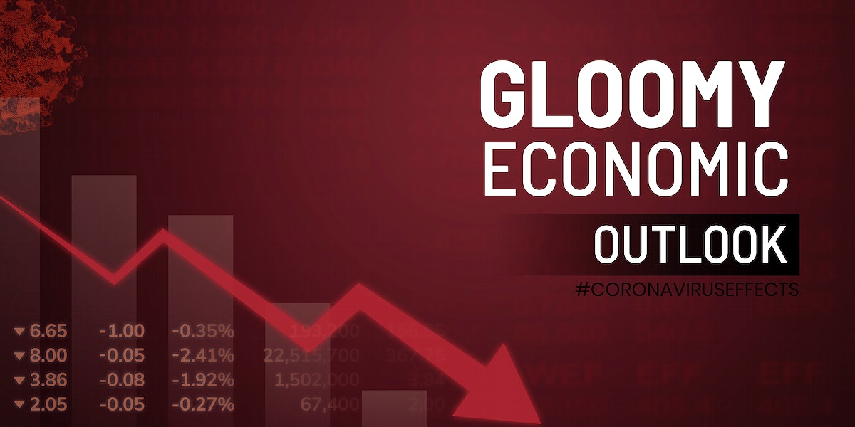 Gloomy economic outlook due to COVID-19 social template vector