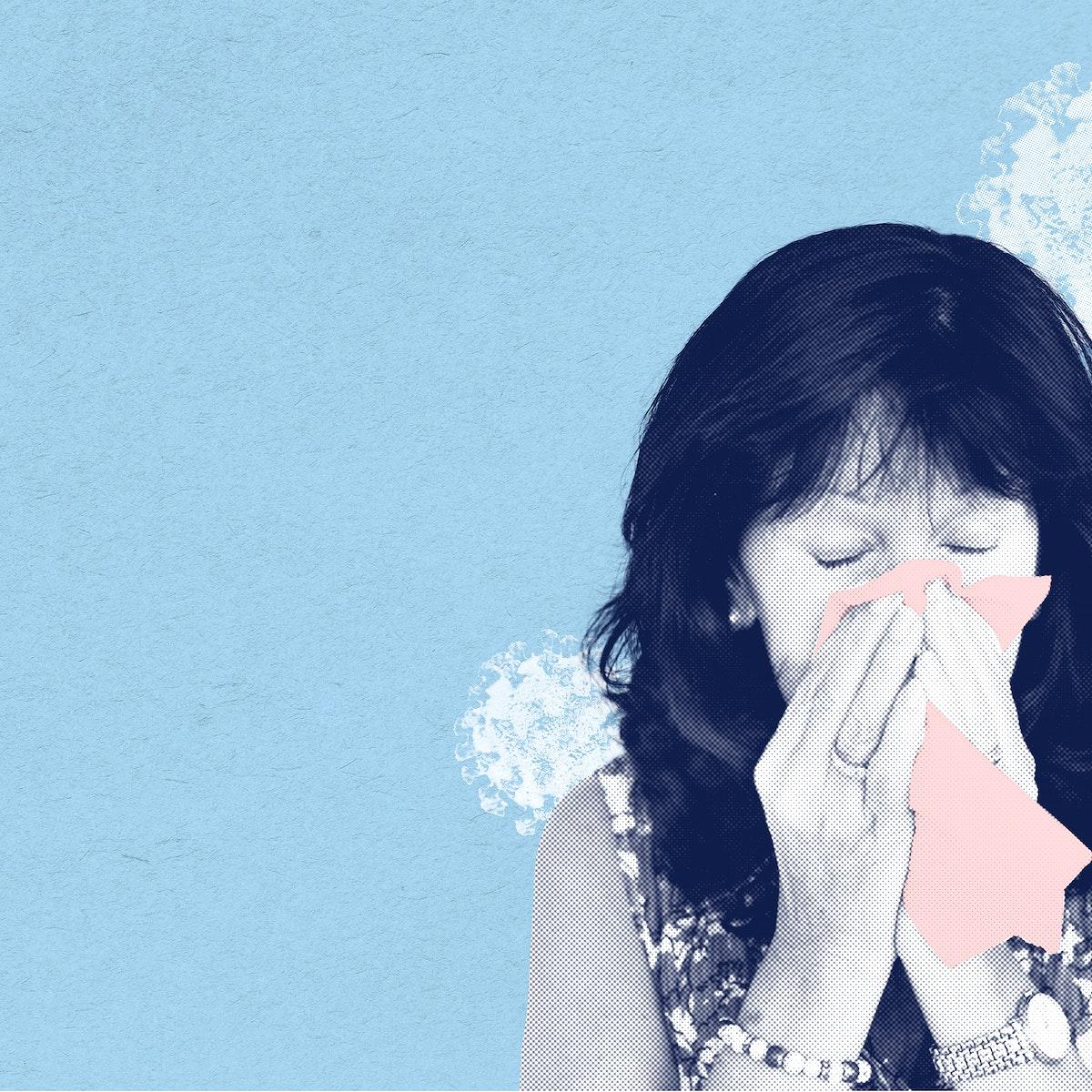 Sneezing woman with coronavirus symptoms social banner