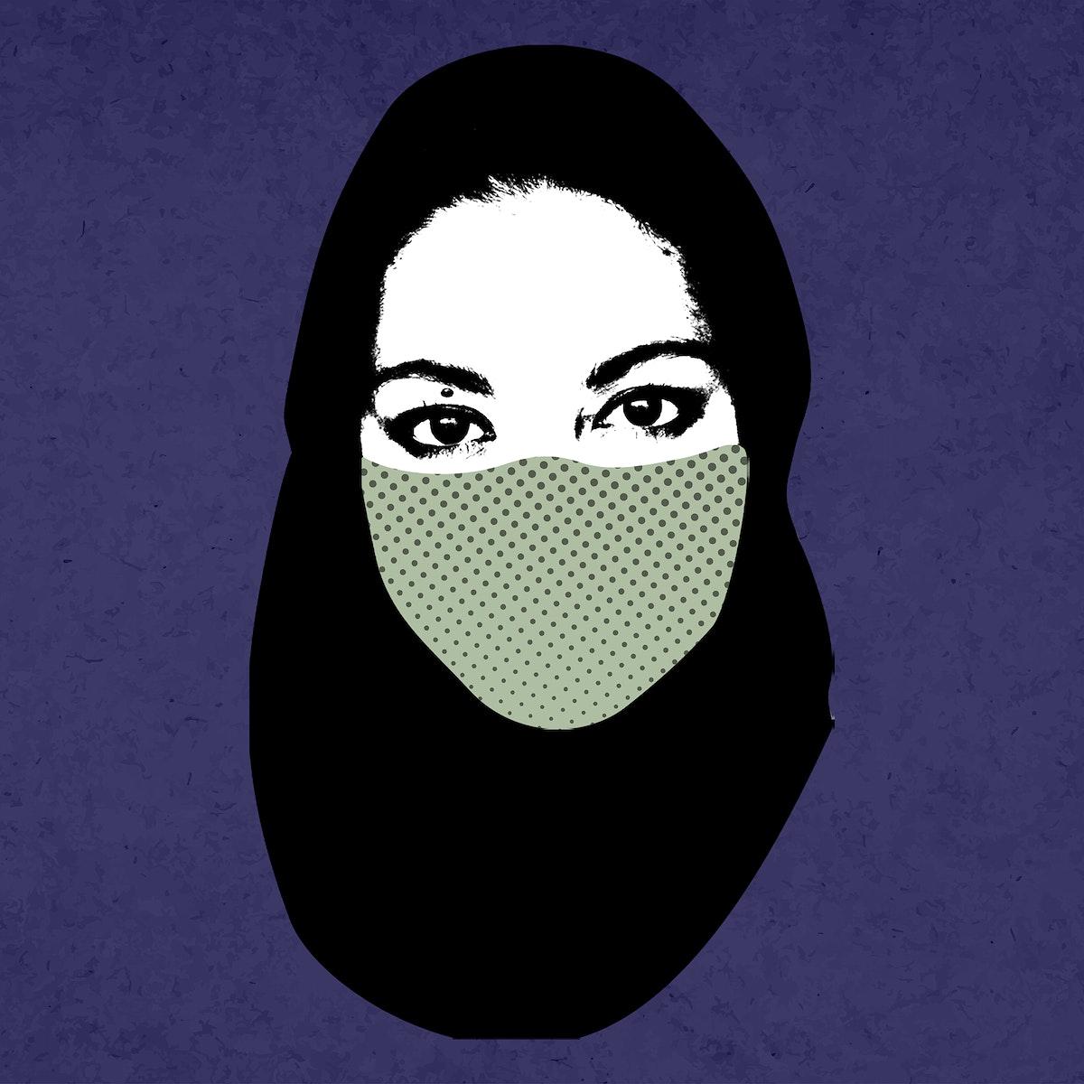Muslim woman wearing a face mask during coronavirus pandemic mockup