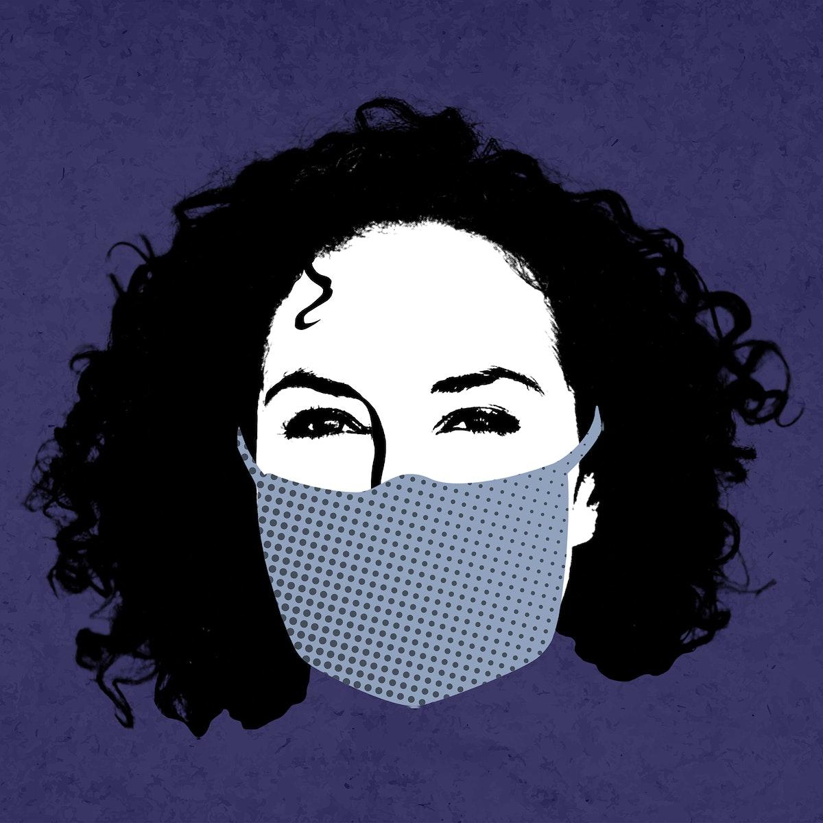 Woman wearing a face mask during coronavirus pandemic mockup