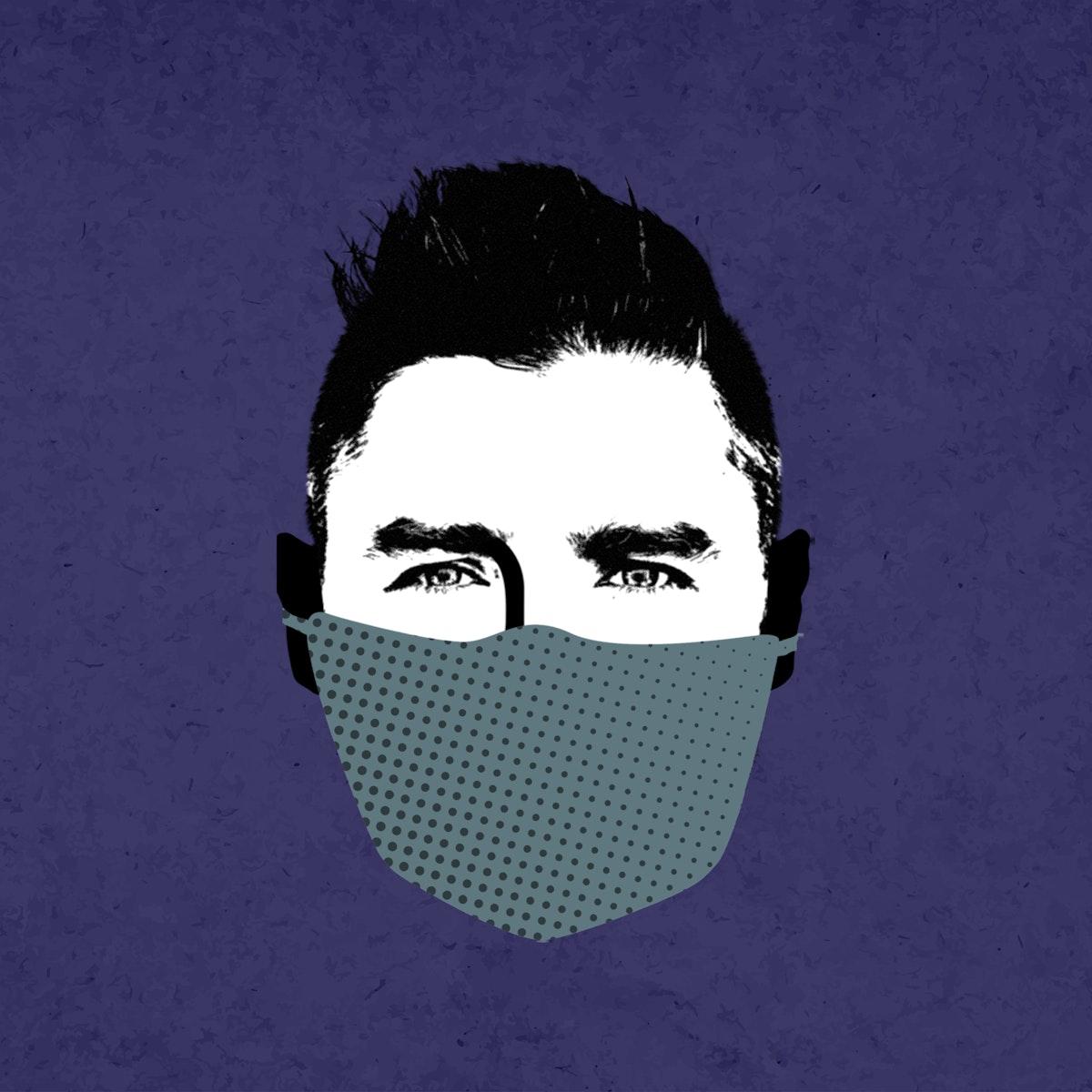 Man wearing a face mask during coronavirus pandemic mockup