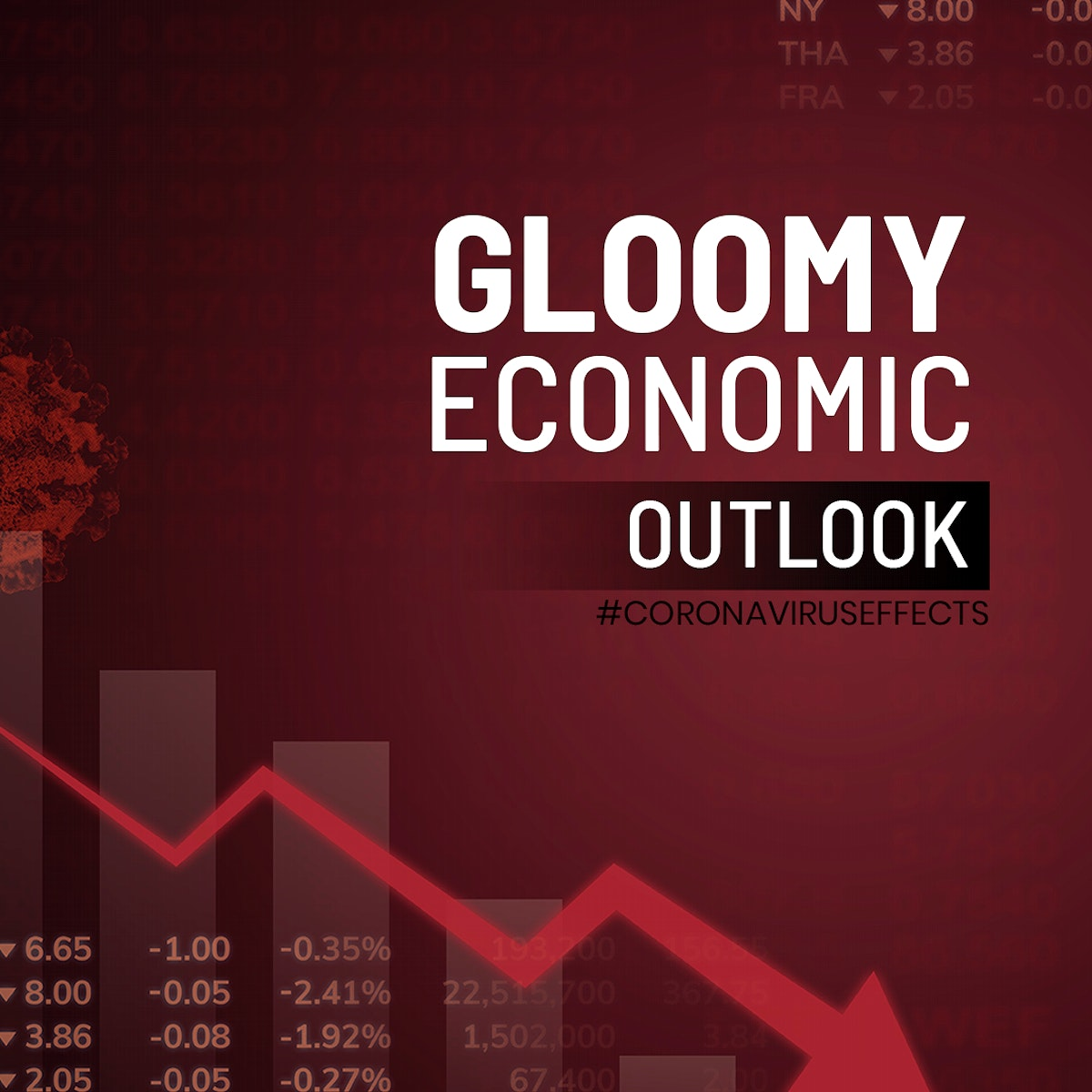 Gloomy economic outlook  due to COVID-19 social banner vector