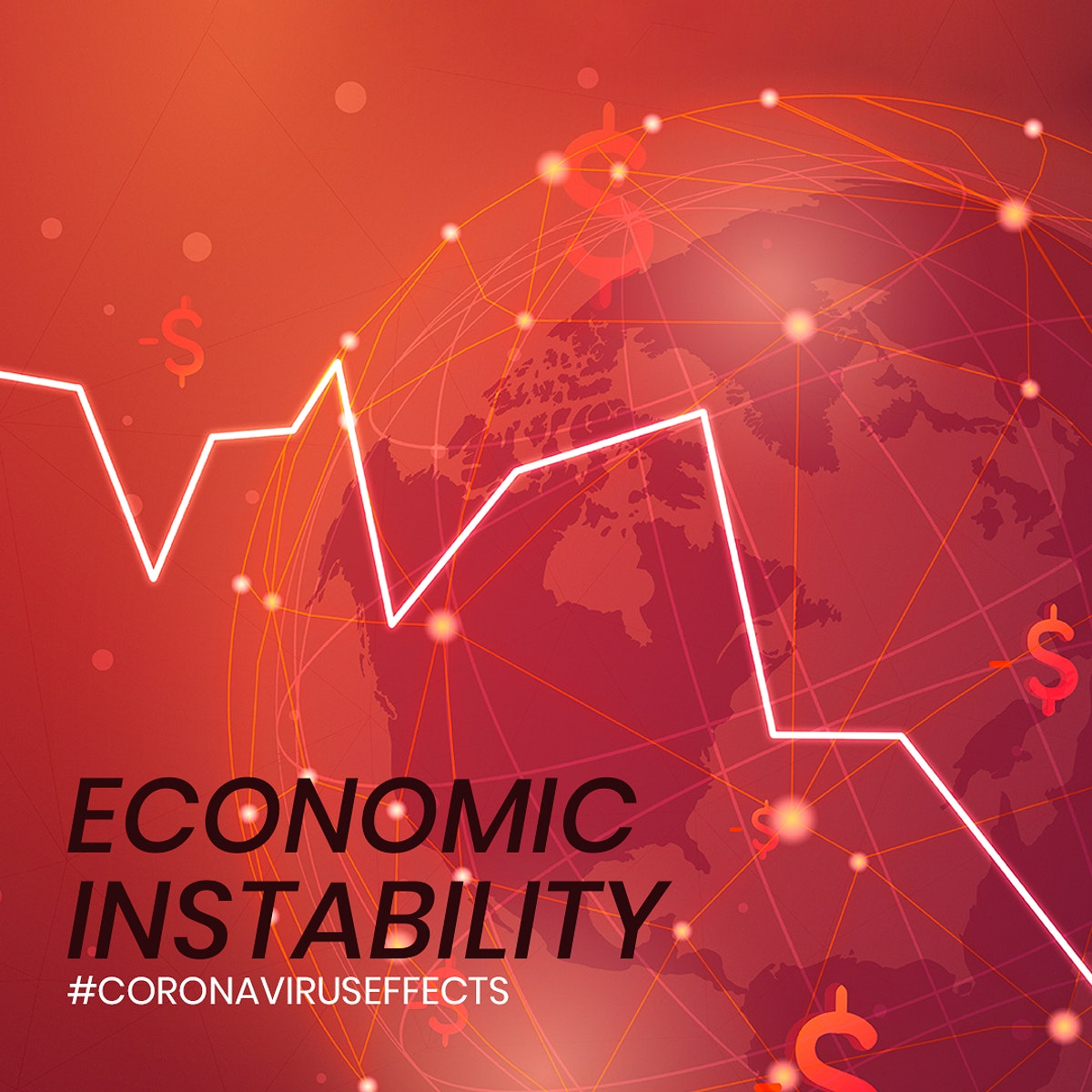 Economic instability due to COVID-19 social banner mockup