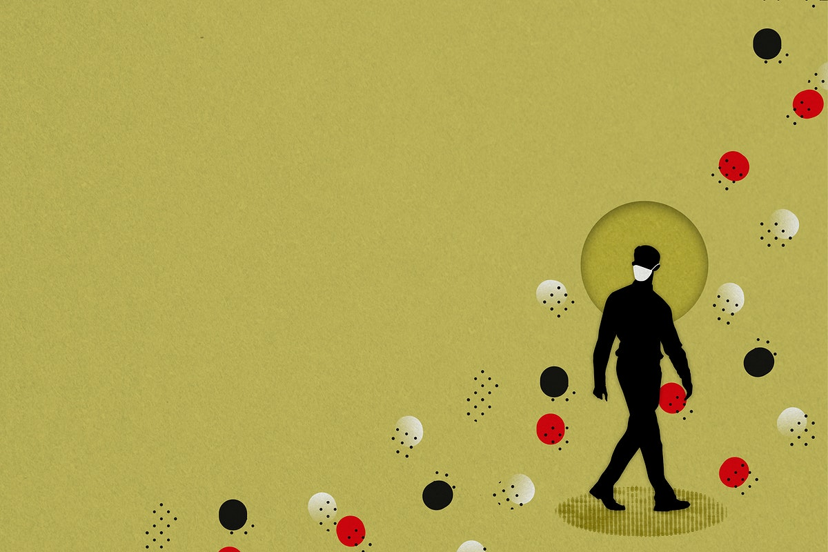 Silhouette of a man wearing a face mask due to COVID-19 background illustration