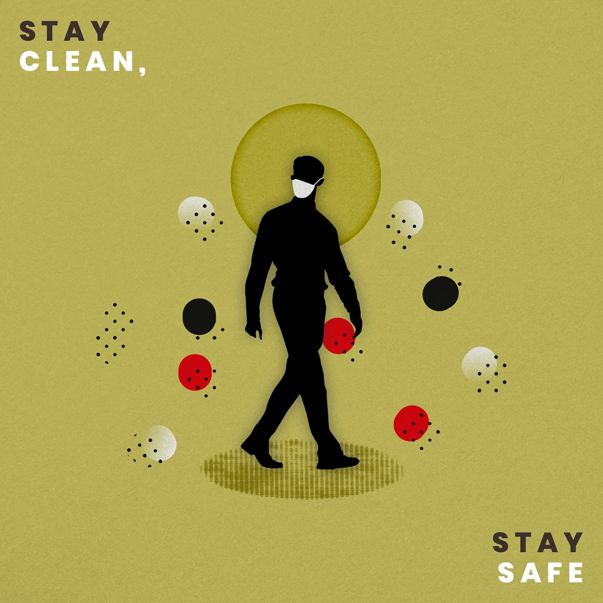 Stay clean, stay safe during coronavirus pandemic social template mockup