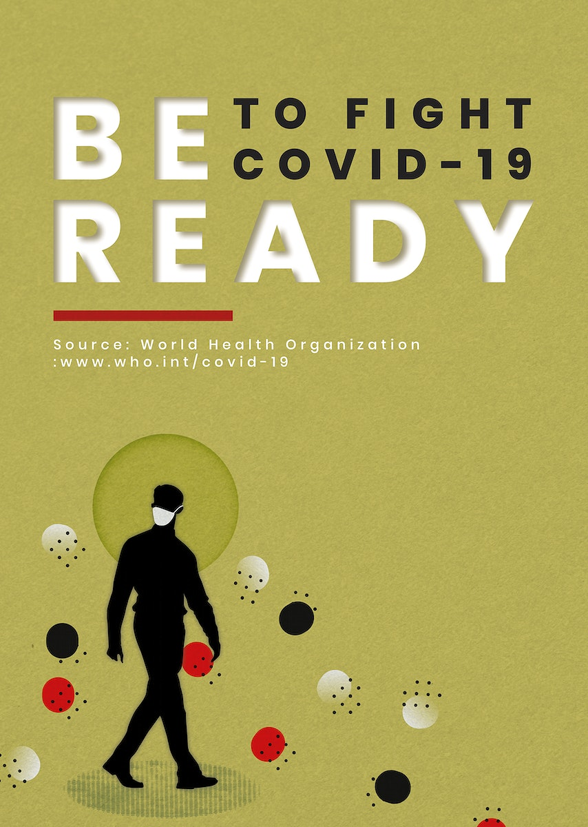 Be ready to fight COVID-19 poster template mockup