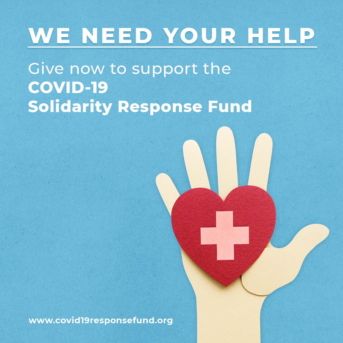 Give now to support the COVID-19 Solidarity Response Fund social temaplate