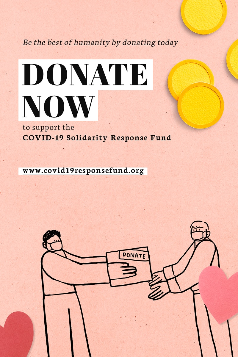Donate now to support the COVID-19 Solidarity Respones Fund paper craft social template source WHO