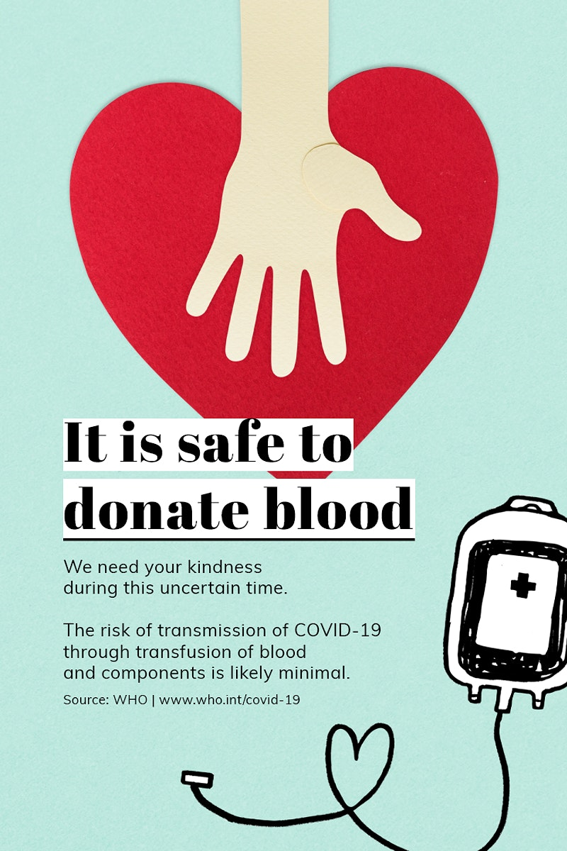It is safe to donate blood during coronavirus pandemic paper craft social template source WHO