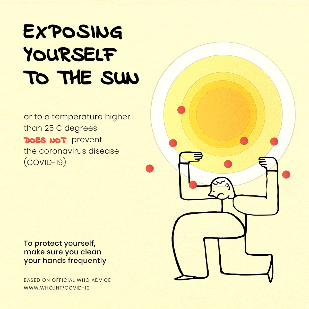 Exposing yourself to the sun does not prevent coronavirus disease template source WHO