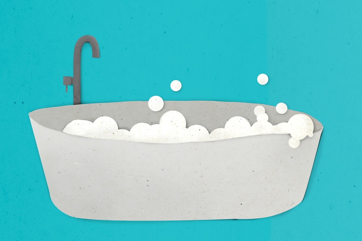 Hot bath tub paper craft design element