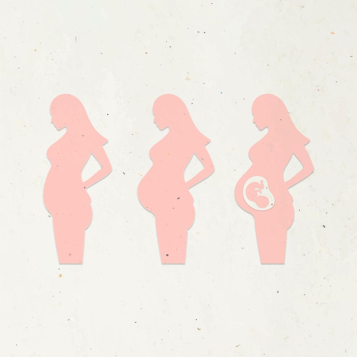 Paper craft pregnant woman character set vector