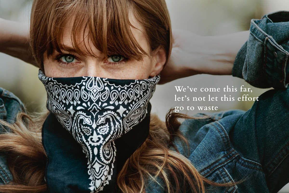 Woman wearing a Bandana mask during the Covid-19 pandemic. This image is part our collaboration with the Behavioural Sciences…
