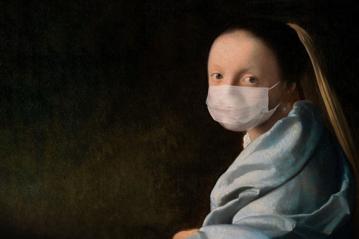 Young woman by Johannes Vermeer wearing a face mask, design remix