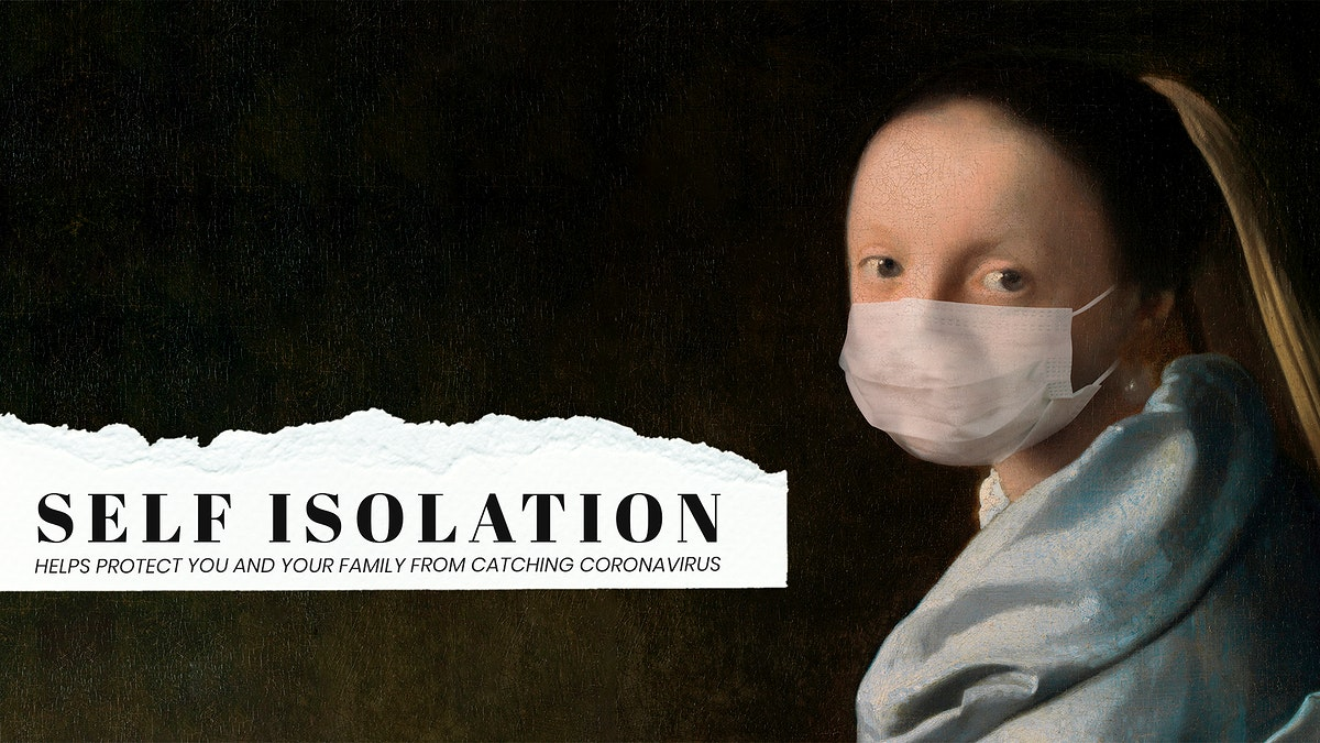 Young woman by Johannes Vermeer wearing a face mask, design remix.  This image is part our collaboration with the Behavioural…