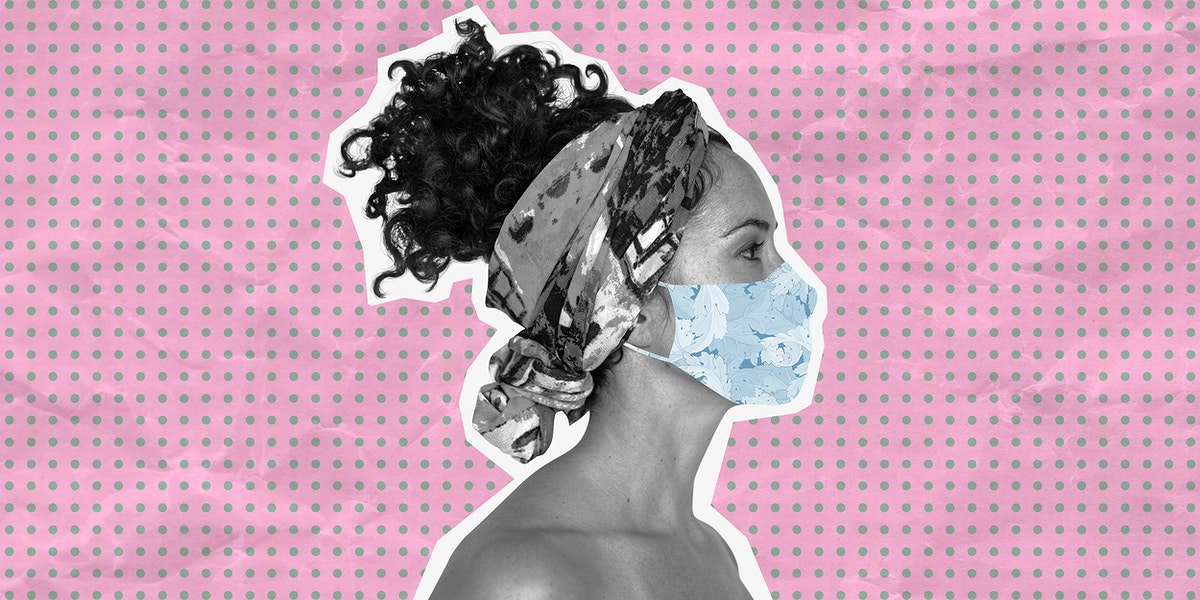 Woman wearing a face mask to prevent coronavirus infection on a pink banner