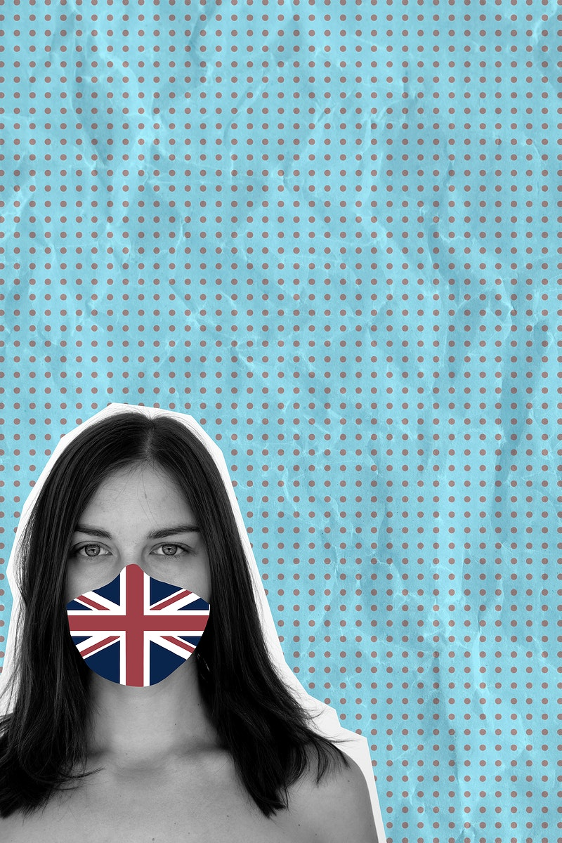 Brit woman wearing a face mask to prevent coronavirus infection on a blue banner