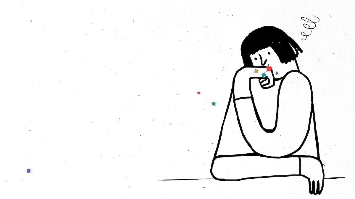 Woman feeling stressed during coronavirus quarantine illustration