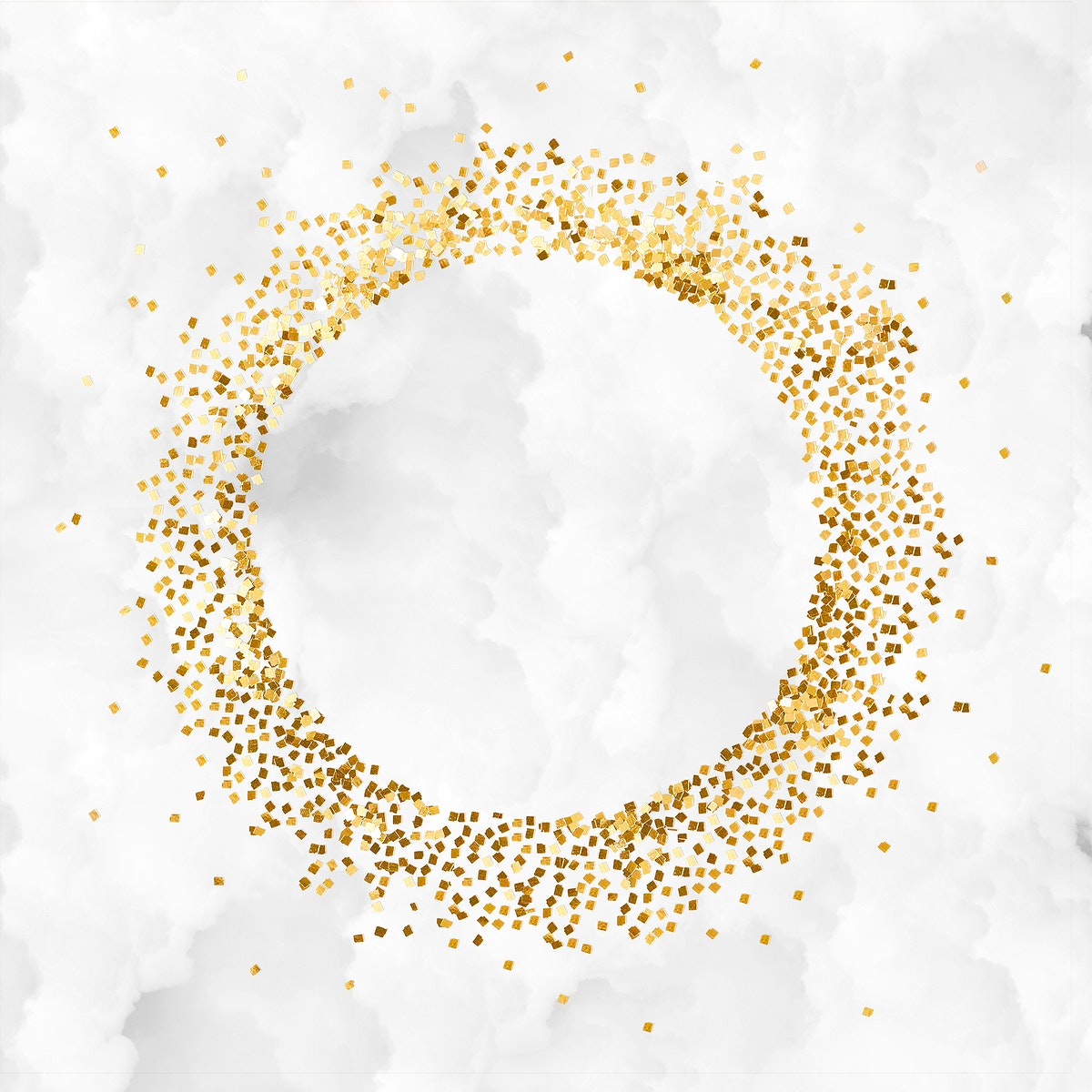 Glittery round frame on a crumpled white paper textured background