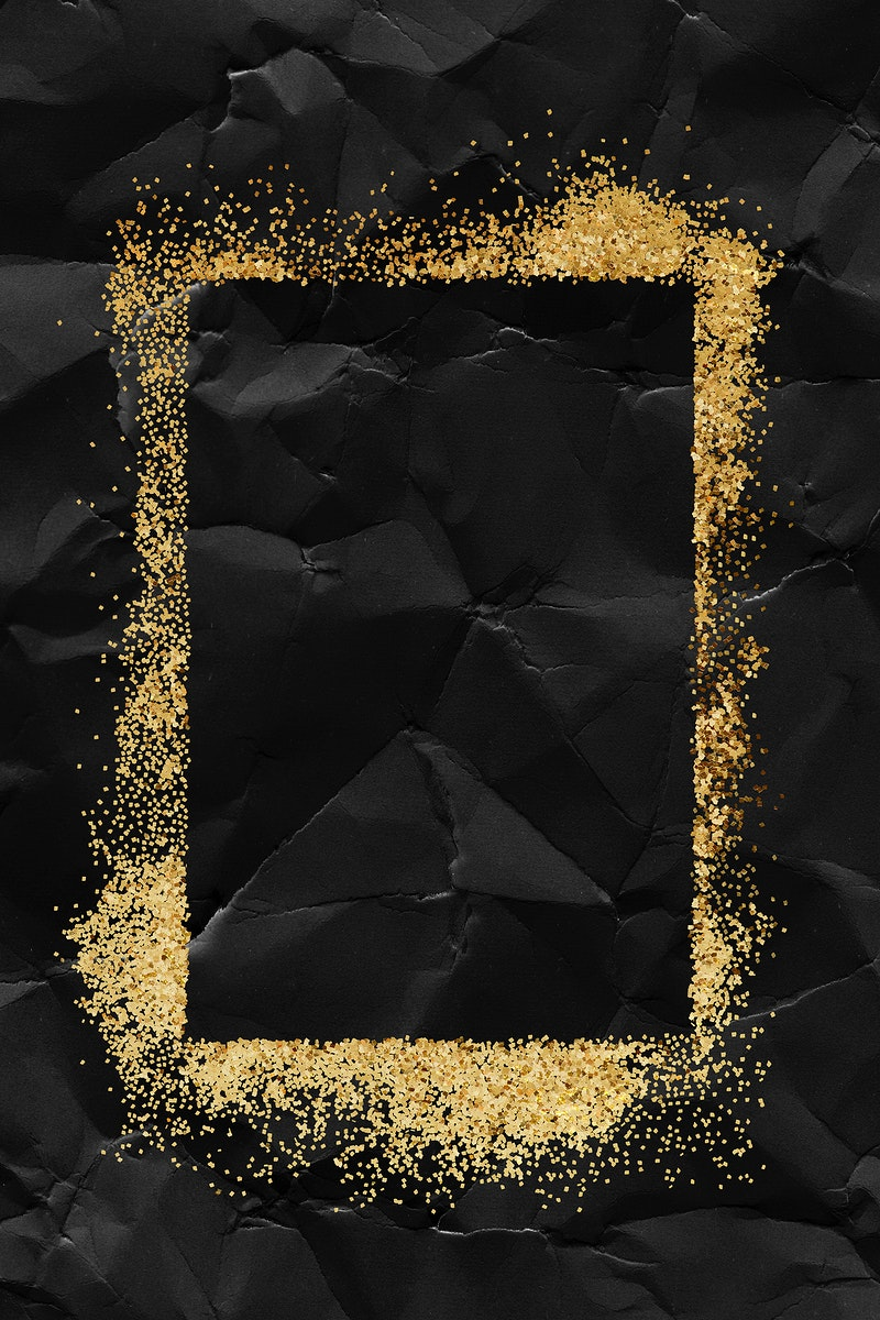 Glittery rectangle frame on a crumpled black paper textured background
