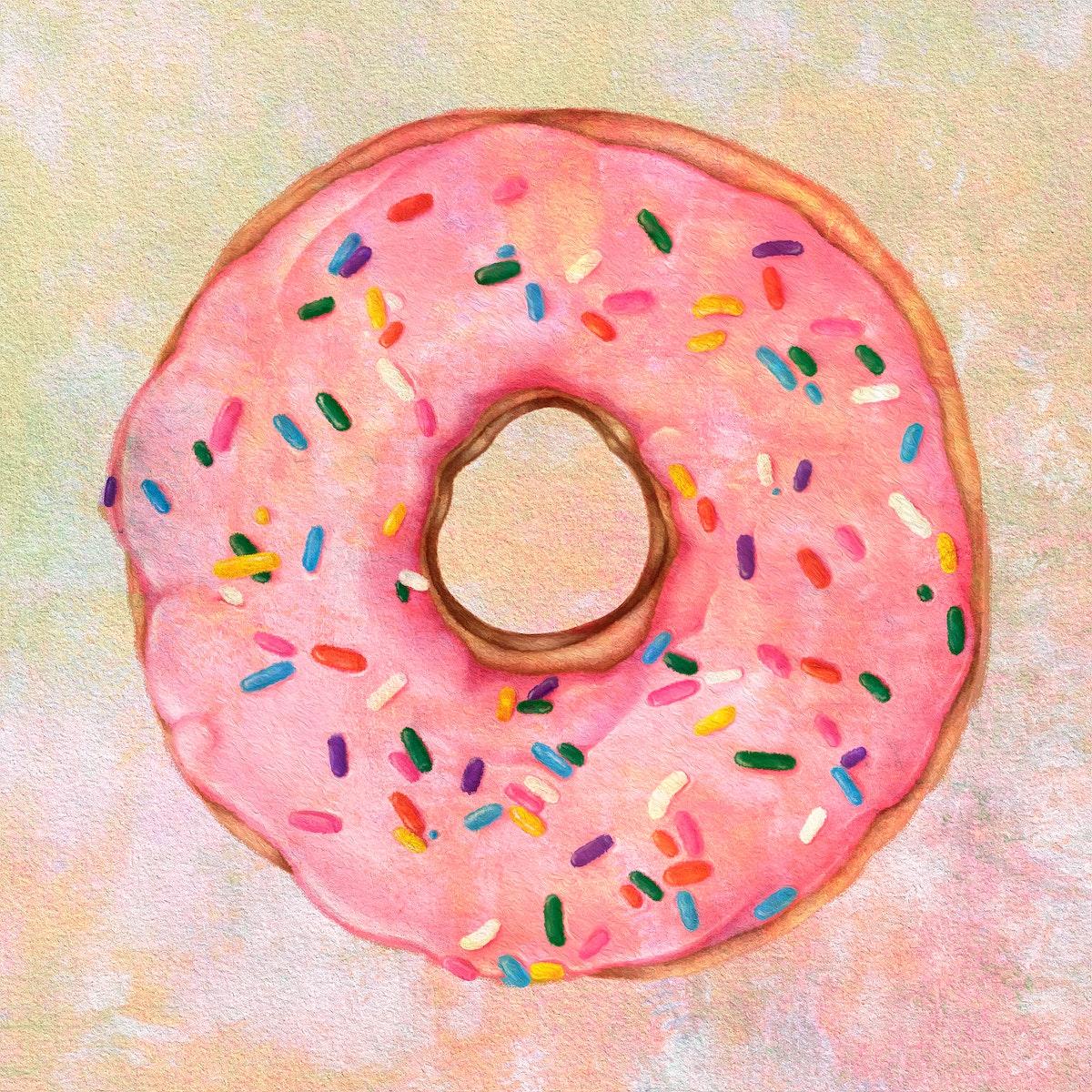 Glazed pink doughnut with sprinkles design element illustration