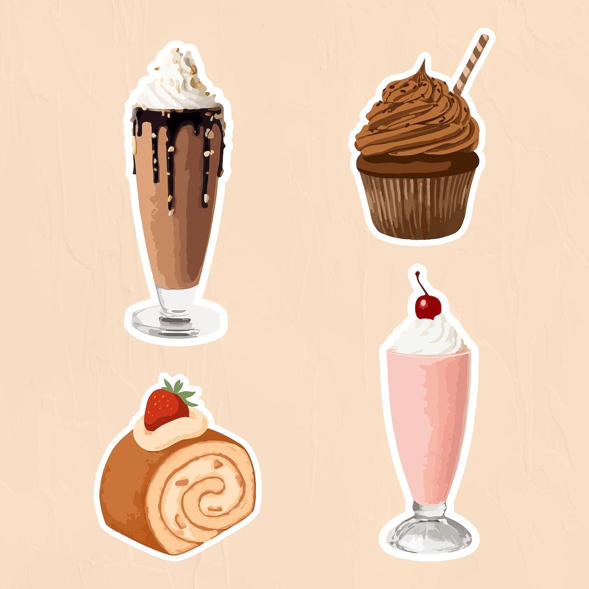 Vectorized dessert sticker overlay set design resources