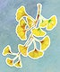 Branch of yellow ginkgo acrylic paint style sticker with white border