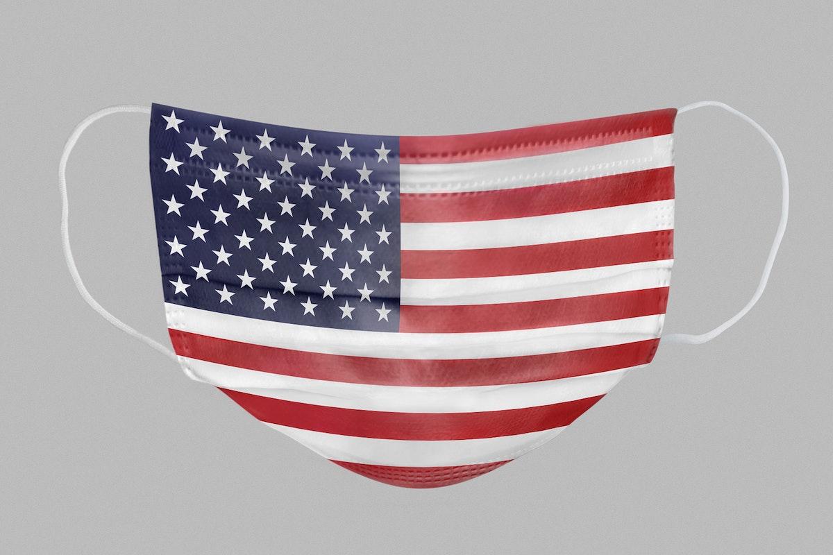 USA flag pattern on a face mask mockup