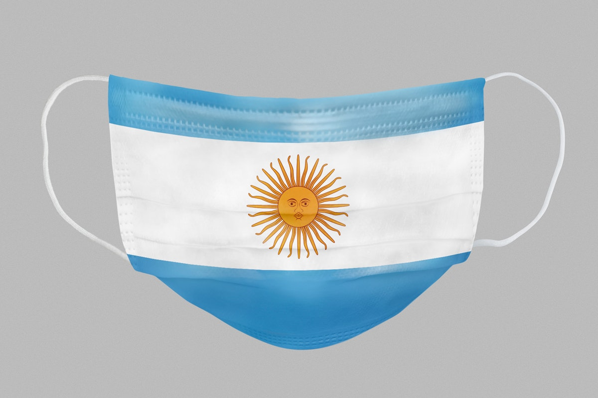 Argentinian flag pattern on a face mask mockup