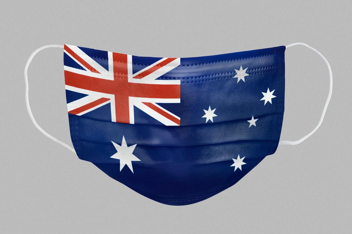 Australian flag pattern on a face mask mockup