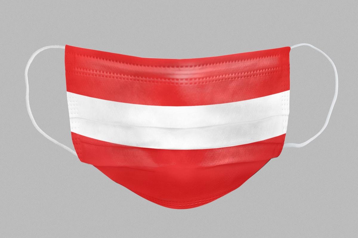 Austrian flag pattern on a face mask mockup