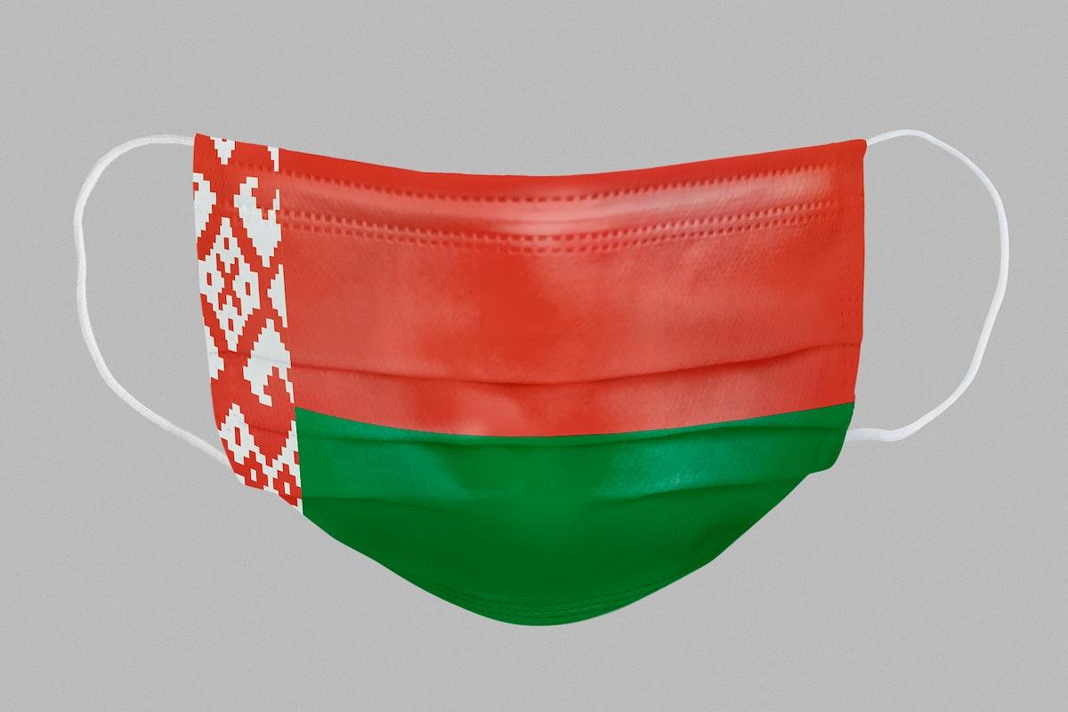 Belarus flag pattern on a face mask mockup