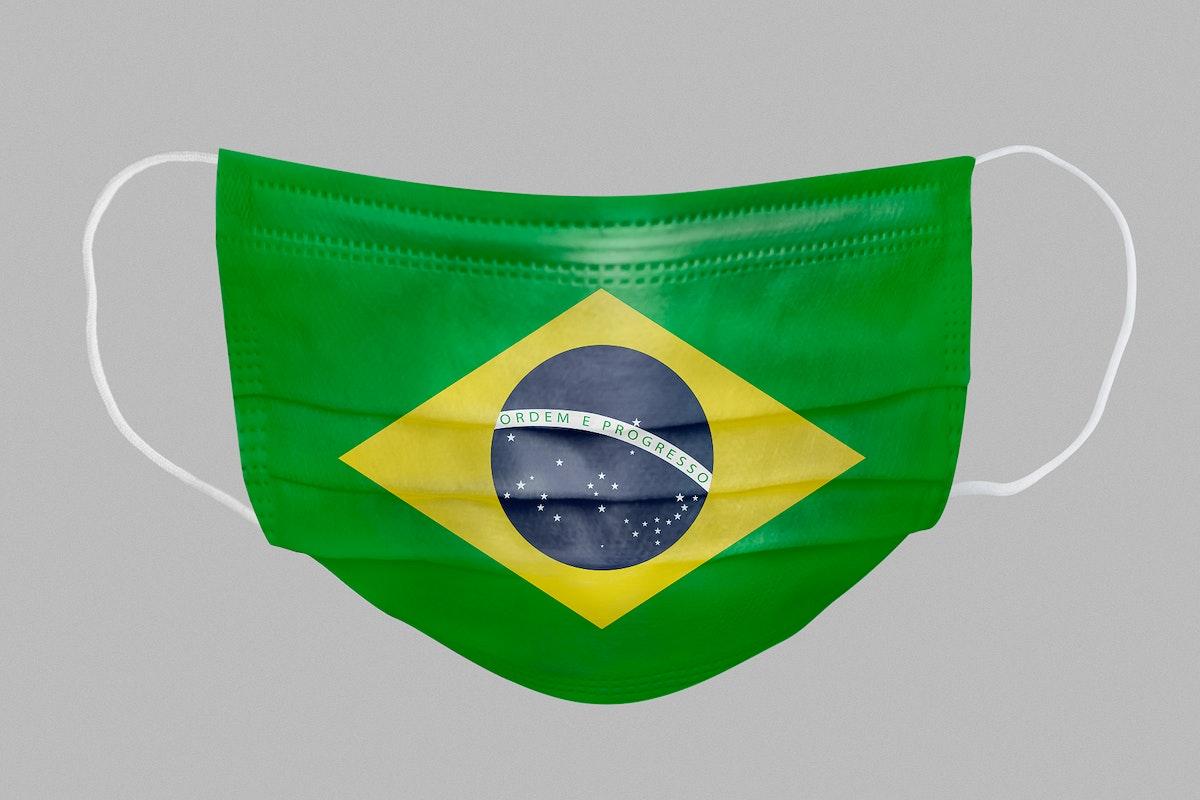 Brazilian flag pattern on a face mask mockup